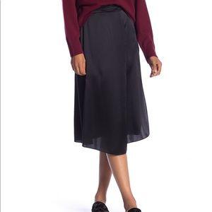 Vince Drape Panel Silk Midi Skirt Black XS